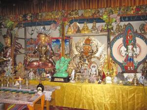 Statues in private shrine room of HH Kusum Lingpa where Lamas practiced Guru Yoga