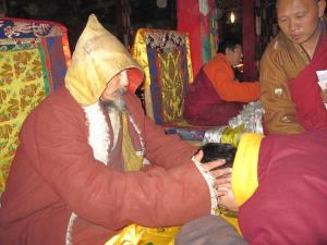 Aku Choying Rangdrol and HE Drugdrag Rinpoche, at funeral services for HH Kusum Lingpa