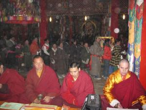 Tulku Sherdor at head of row of Lamas in front of body mandala of HH Kusum Lingpa